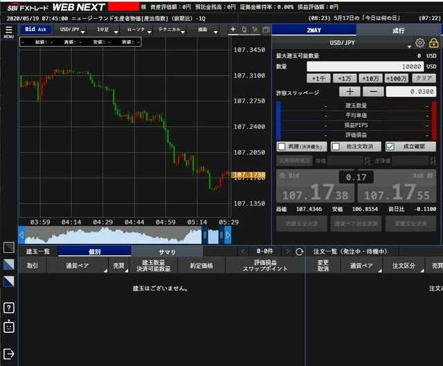 SBI-FX口座画面